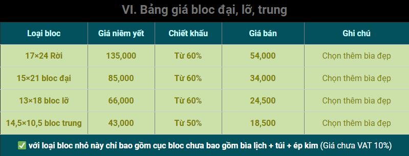 bảng giá in bloc đại , bloc trung, bloc đại lỡ