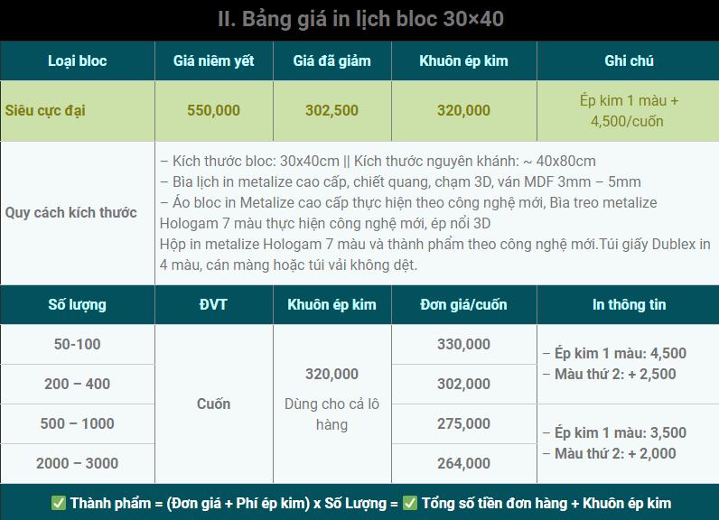 bảng giá in lịch bloc 30x40