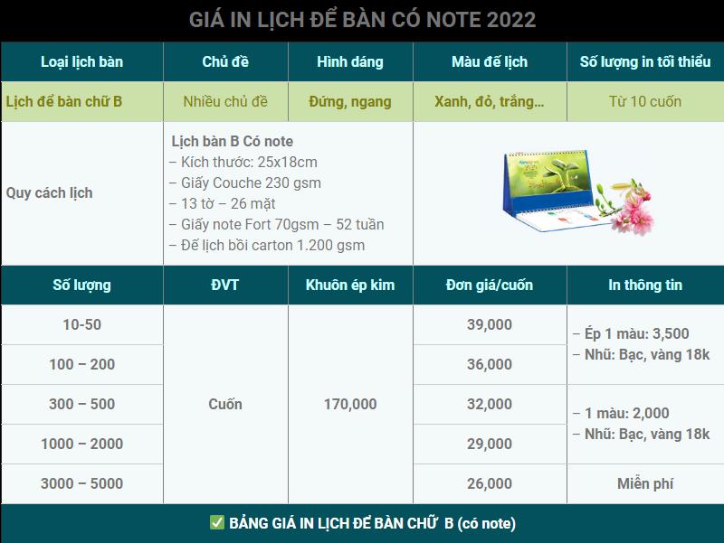 Bảng giá in lịch để bàn có Note (B)